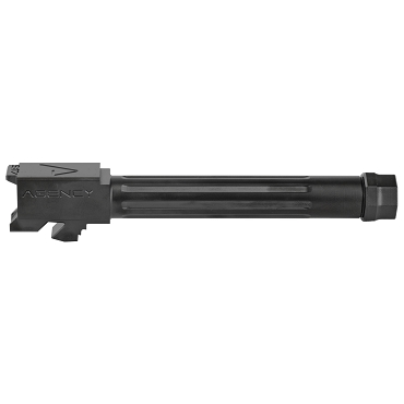 Agency Arms, Mid Line Barrel, 9MM, Black Nitride Finish, Threaded And Fluted, Fits Glock 17 Gen 5
