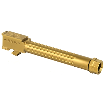 Agency Arms, Mid Line Barrel, 9MM, Gold Tin  Finish, Threaded And Fluted, Fits Glock 17 Gen 5