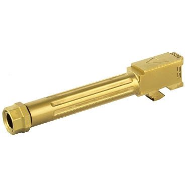 Agency Arms, Mid Line Barrel, 9MM, Gold Tin Finish, Threaded And Fluted, Fits Glock 19 Gen 5