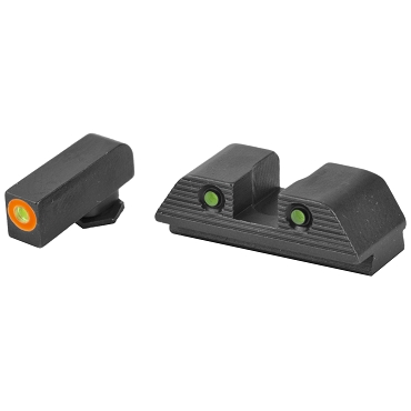 AmeriGlo, Trooper, Sight, Fits Glock 42,43,43X, 48 Green Tritium ORANGE Outline Front, Green Tritium Black Serrated Rear, Front/Rear