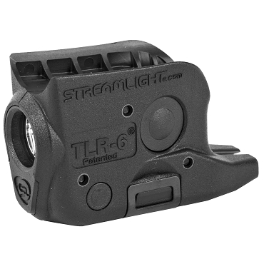 Streamlight, TLR-6, Weaponlight, Fits GLK 42/43/43x/48, White LED, 100 Lumens, Includes 2 CR 1/3N Lithium Batteries, Black