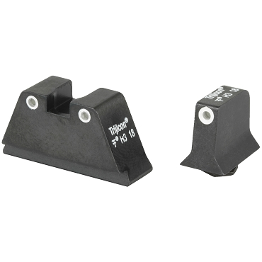 Trijicon, Bright & Tough Suppressor Height Night Sights, Fits Glock 17/19/22/23/26/27/31/32/33/34/35/37/38/39, White rings front and back, Tritium Front/Rear, Green 3 Dot