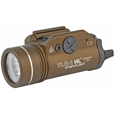 Streamlight, TLR-1 HL, FDE Brown, C4 LED 1000 Lumens With Strobe, 2x CR123 Batteries
